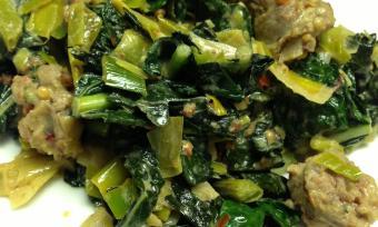 Dijon Leeks with Kale and Sausage